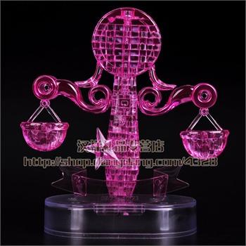 3d立体水晶拼图led发光带灯十二星座系列生肖拼图diy益智拼装玩具