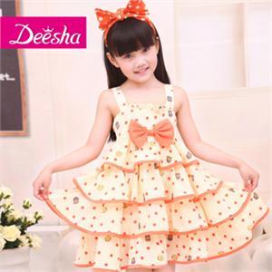 笛莎女儿童装可爱公主吊带韩版蛋糕连衣裙1213309