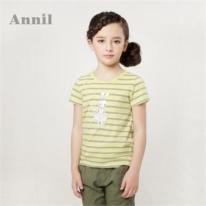 安奈儿童装 女童短袖 2014夏装新款 圆领短袖针织衫EG421238