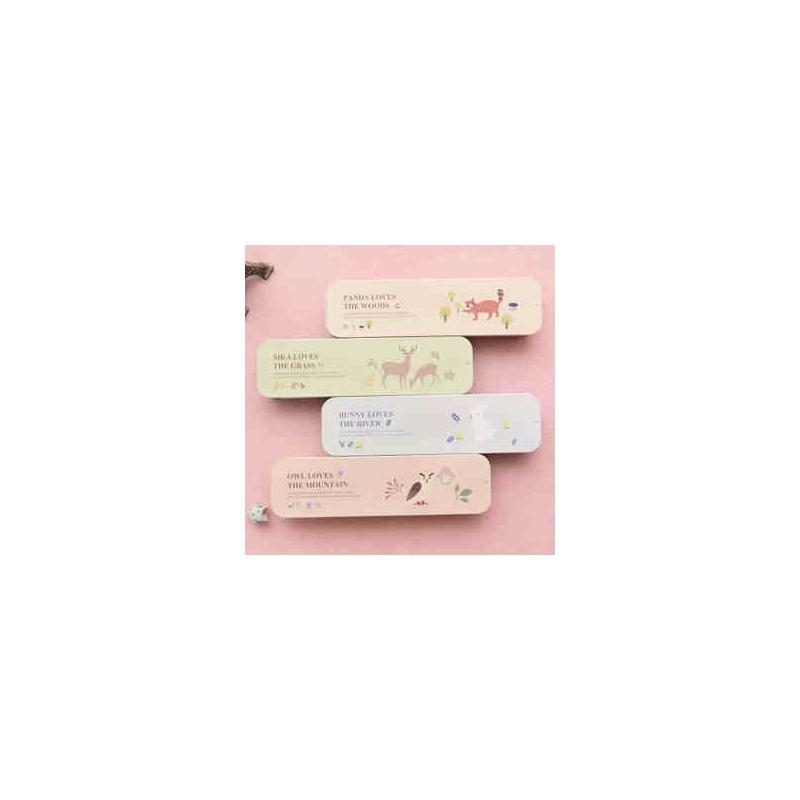 韩版文具 可爱卡通森林精灵手推盒文具盒 笔盒 铁皮盒铅笔盒