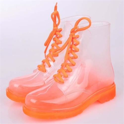 女士雨鞋韩版雨靴彩色透明马丁雨靴平跟高帮水鞋水靴