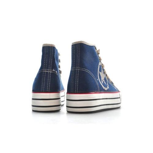 五角星厚底帅气时尚英伦风格高帮帆布鞋女士帆布鞋