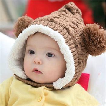 公主妈妈麻花双球加绒帽 宝宝帽子 儿童帽子 冬款加绒
