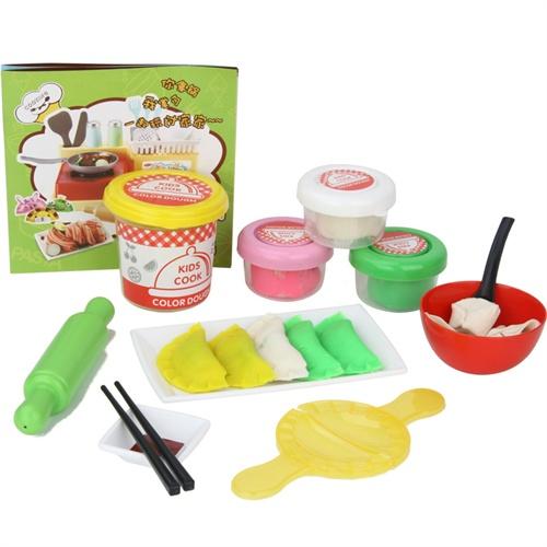 创意岛过家家玩具 儿童仿真厨具厨房彩泥面条机饺子工坊3d玩具套装 橡