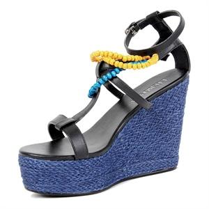裂帛 春夏新款串珠绑带坡跟罗马凉鞋 麻绳高跟 女51130914
