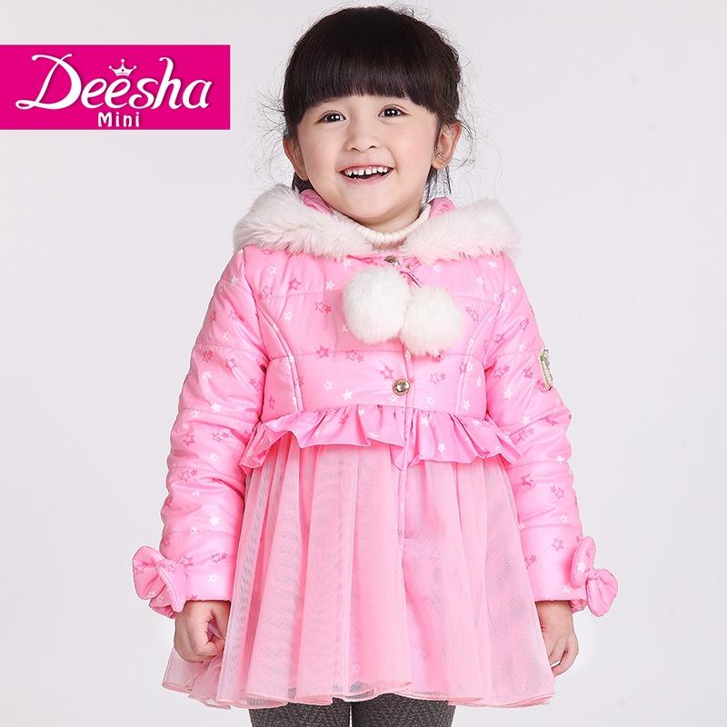 【11-11】笛莎2014冬季新款女儿童冬装可爱小星星印花公主裙式棉衣