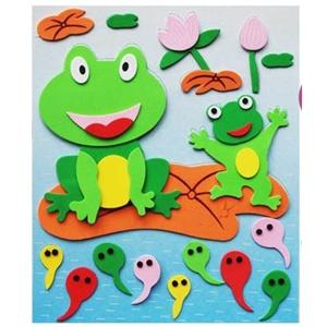 海绵纸动物手工贴画 海绵纸树叶手工贴画 儿童海绵纸手工.