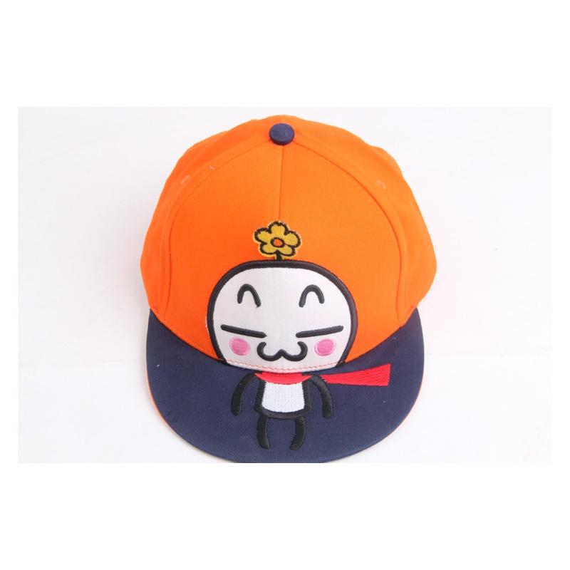 春秋季儿童帽子 时尚卡通平檐嘻哈帽 鸭舌帽 纯棉休闲帽 1-5岁_橙色