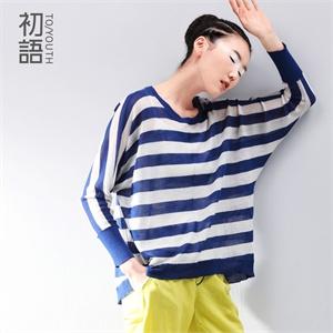初语 2014夏季新款 海的纱帘条纹宽松清透蝙蝠袖 针织衫 女8420323007