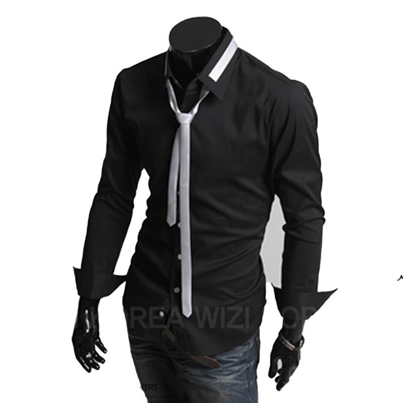 棉质 立领 (送领带)修身 男士 长袖衬衫 (c)jh-adaa(b)_黑色 白领带