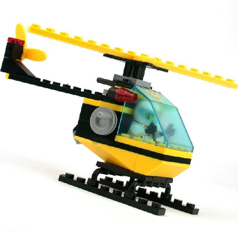 启蒙0386 拯救直升机启蒙玩具拼装拼插积木 益智玩具