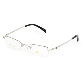 【一支笔眼镜】银色纯钛半框拉丝眼镜架价格