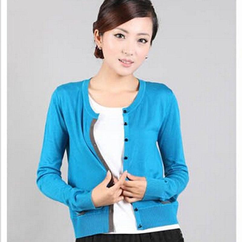 2014秋装新款针织外套 薄款毛衫女款针织衫小开衫 _蓝色,l