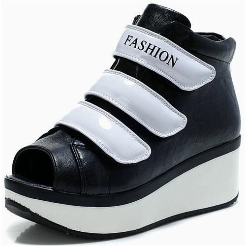 2012夏季新款 鱼嘴 魔术扣 松糕鞋 增高女鞋m81217-1
