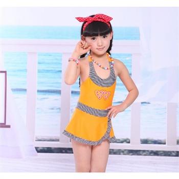 【新款上市】海韵莱 新款夏装儿童泳衣游泳衣 可爱女孩 hyl5123_橙色
