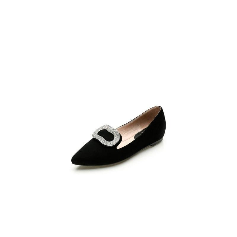 高圆圆自创品牌圆漾 达芙妮秋款水钻方扣平跟尖头单鞋1014404834_黑色