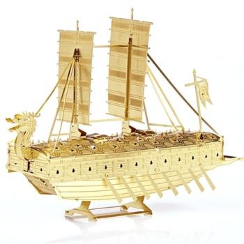【汉祥塑料/硬质积木】3d立体金属拼图龟船