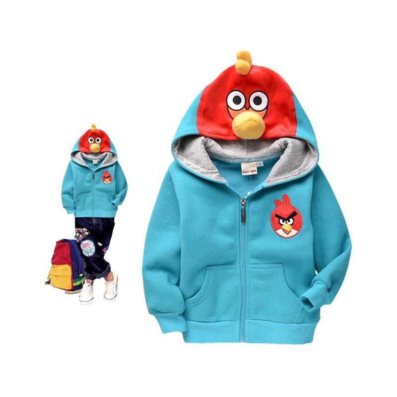 煜婴坊2014春秋季新款童装 卡通可爱立体愤怒的小鸟带帽拉链长袖外套