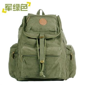 [漂流木100%纯棉]帆布休闲双肩背包/户外旅行包/书包/背囊4592_军绿色图片