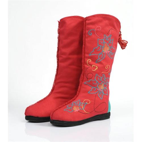 老北京布鞋 时尚绣花靴千层底女靴女鞋y-5