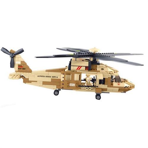 小鲁班乐高式拼装益智玩具439片黑鹰直升机0509