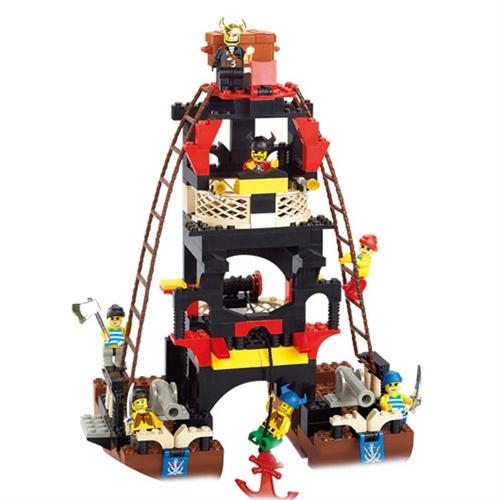 小鲁班积木乐高式拼装益智男孩玩具黑珍珠号加勒比海盗船m38-b0129