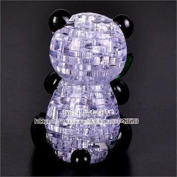 3d立体水晶拼图动物led闪光熊猫抱竹模型拼装玩具儿童