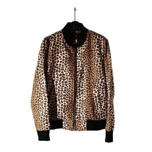 豹纹麂皮绒夹克男士