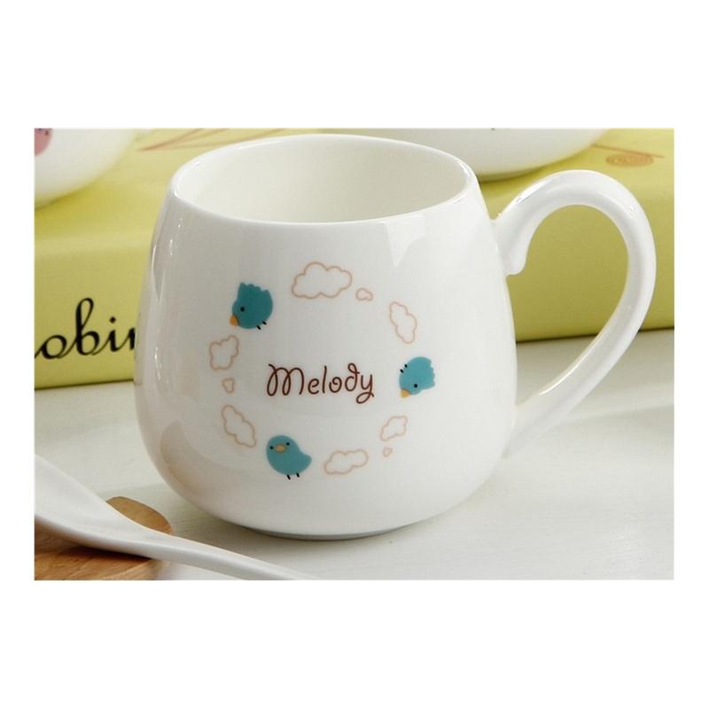 melody 可爱小动物大肚陶瓷杯水杯马克杯 创意简约咖啡杯带盖送勺子
