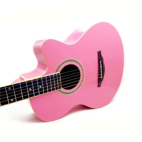 可爱粉色 hello kitty 指定粉色 民谣吉他 40寸 缺角 民谣吉他 可爱流