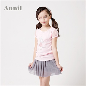 安奈儿童装 女童短袖  2014夏装新款 圆领短袖针织衫EG421162