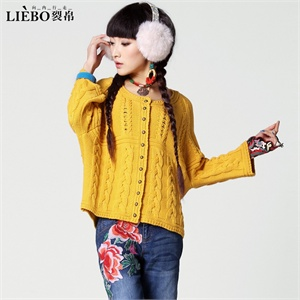 裂帛 2013秋冬新款 纯色对襟长袖毛衣甜美扭绳针 女 51130463