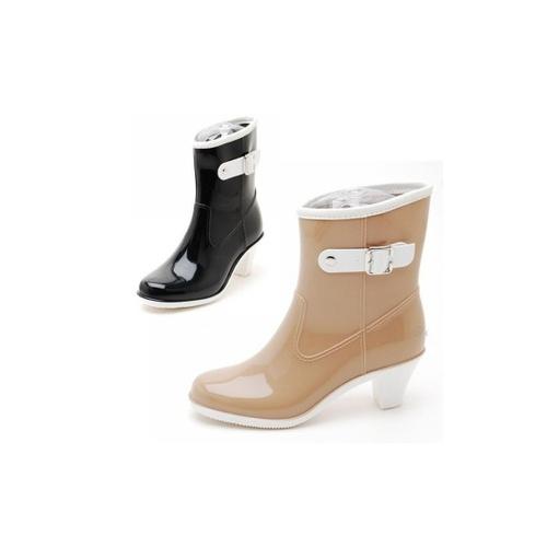 女士雨靴雨鞋气质高跟雨鞋优雅中筒雨靴水鞋礼品礼物