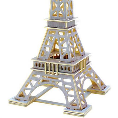 若态科技木质3d立体拼图著名建筑模型埃菲尔铁塔jpd
