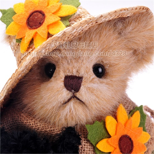 31) 美国bearinton贝瑞正版14寸刺绣紫格花裙泰迪兔子生日礼物