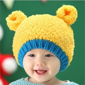 儿童帽子秋冬季新款 韩国小熊毛线帽子 宝宝双球帽 小孩子毛绒护耳帽