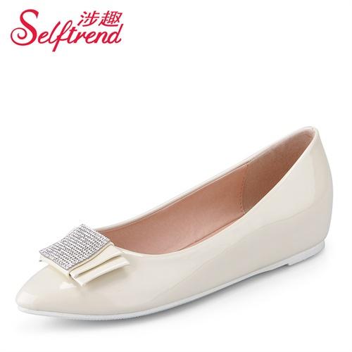 预售款 1月17号发货 涉趣 2014春季新品时尚小尖头奢华水钻蝴蝶结内增高单鞋 W01005