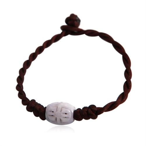 【第八区珠宝】-天然a货翡翠-diy手编绳镂空路路通转运珠手链_咖啡色