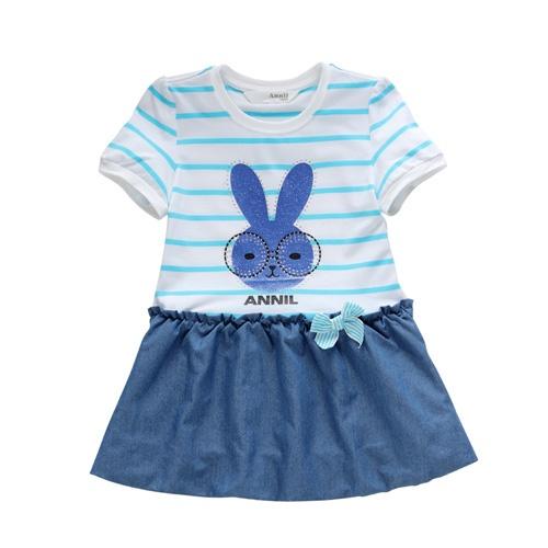 安奈儿童装 女童 连衣裙夏装 女大童可爱裙子短裙 ag223050_白底蓝色