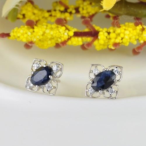 限时热抢 限量20个】欧蒂亚珠宝 唯美 时尚 925纯银天然蓝宝石耳钉图片