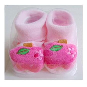 新生儿鞋袜 宝宝袜子/可爱卡通公仔袜婴儿立体袜_22粉色苹果,7-9cm(0