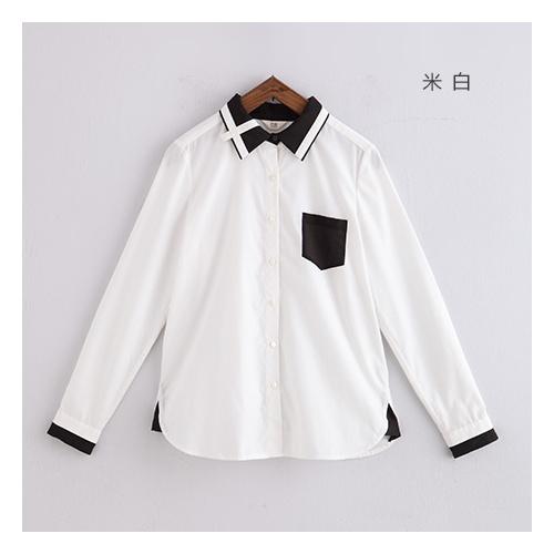 初语2014新款 黑白撞色衣领线条拼接感衬衫332102122