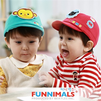 韩版婴幼儿卡通儿童帽子 动物鸭舌帽 可爱卡通纯棉宝宝帽子 可调0-2岁