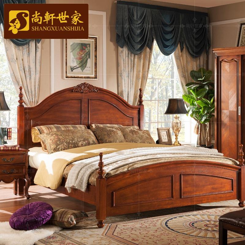 新款尚轩世家美式实木床1.5 1.8米双人床欧式大床美式
