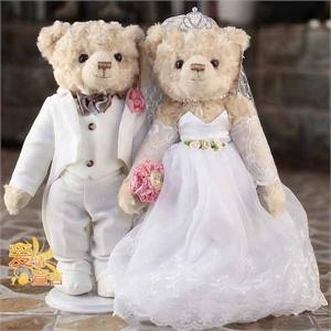 凯弘  七夕情人节礼物生日礼物送女友老婆爱人朋友孩子创意礼品  婚纱压床娃娃泰迪熊 礼盒装50cm
