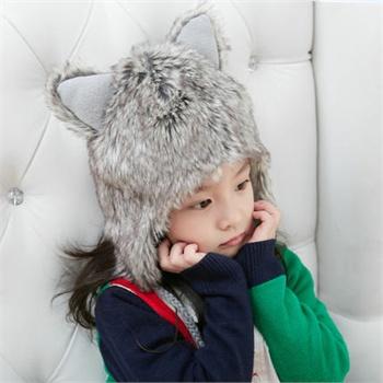 儿童帽子女冬天韩版潮套头帽可爱猫耳朵保暖飞机宝宝冬帽女