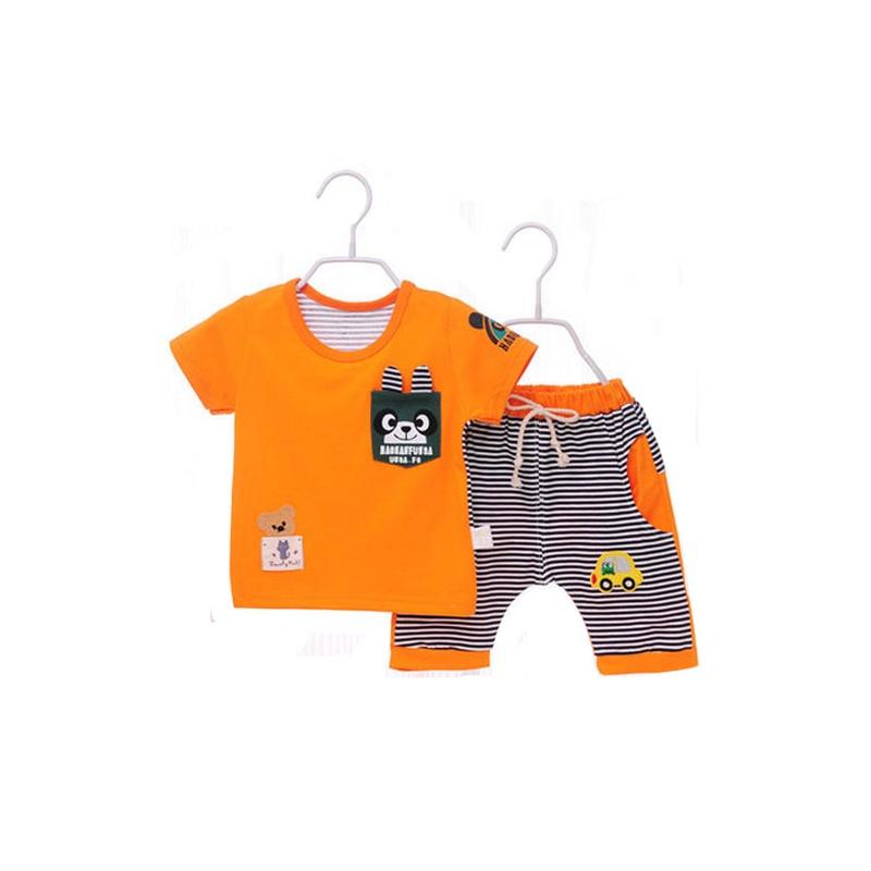 男女童装 夏季宝宝t恤小童套装 男女童外出服装 2件套_橙色 小熊条纹