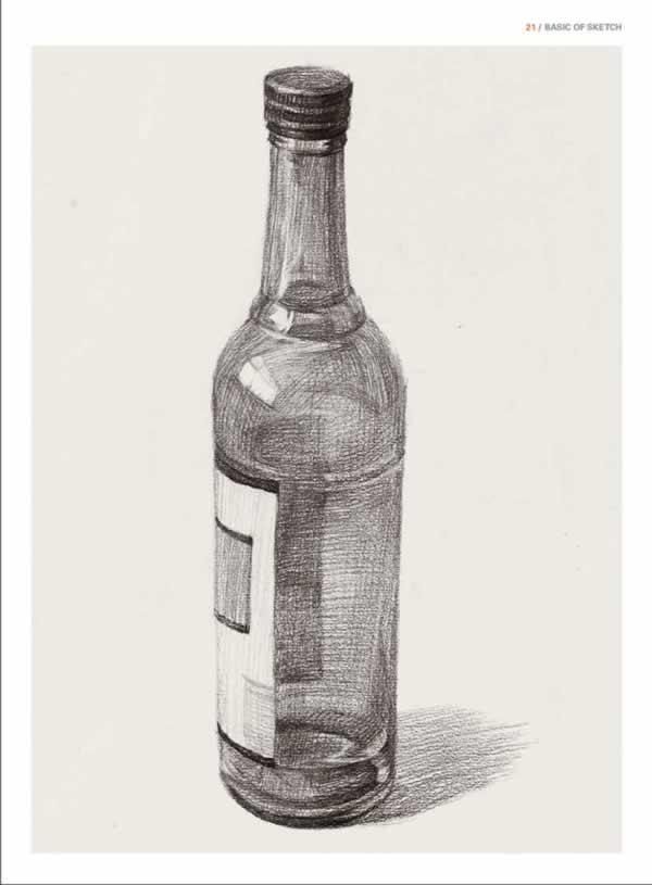 红酒瓶子素描结构图片