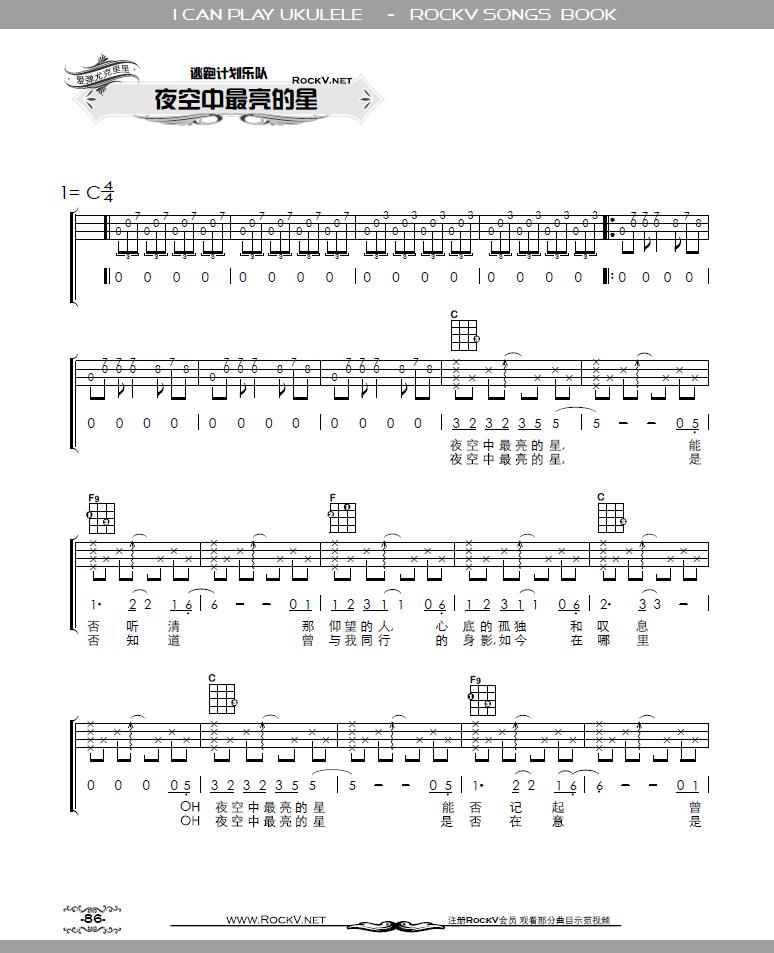 学尤克里里,开始最好弹什么曲目,简单易学的那种 求曲目和简谱 求