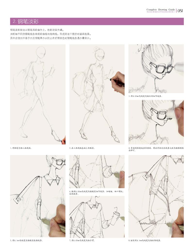 手绘时装画的学习首要的就是深入了解时装画用人体的绘画经验,其次是了解不同工具的基本绘画技法,包括彩色铅笔、水彩、水粉、色粉笔、马克笔等以及灵活地综合运用。基于时装画的功能性与服装工业需求,手绘时装画需要了解各种不同的时装面料绘制技法,包括牛仔、丝绸、呢绒、格纹等常用面料的表现技法,以及钉珠、镶嵌、绗缝、缩缝等常用工艺的表现技法。另外,不同类型服装的表现效果可以用不同的绘制工具、技法以及风格来进行区分。   需要强调的是,尽管时装画的绘画工具繁多、表现形式多样,但是水彩技法值得花费更多的时间与精力去练习